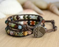 Semiprecious gemstone bead bracelet. Mixed stone hippie style wrap bracelet.