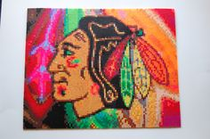 chicago blackhawks perler bead art made by me - amanda wasend