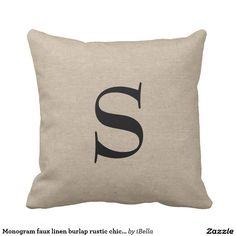 Monogram faux linen burlap rustic chic initial jut