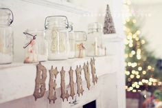 Thoughts from Alice: Christmas 2012 - Antique Mason Jar Winter Scene Mantel Decor
