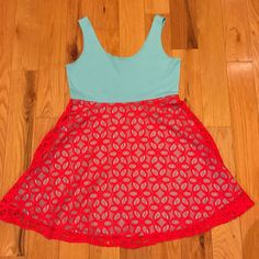 JUDITH MARCH TANK SKATER DRESS SIZE LARGE BLUE WITH RED LACE BOUTIQUE  | eBay