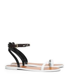 LEATHER ANKLE-STRAP FLAT JELLY SANDAL