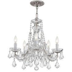 Maria Theresa Polished Chrome Five-Light Chandelier Draped In Swarovski Elements Crystal