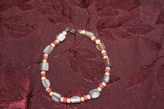 Gray Mother-of-Pearl Bracelet - Handmade Wood Bracelet - Wooden Bead Bracelet