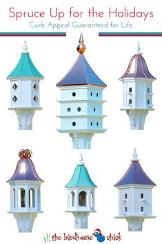 Copper Roof Vinyl Birdhouses and feeders look like wood- but never rot! USA handcrafted for permanent curb appeal... and birds!