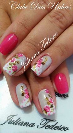 Unhas decoradas com vintage floral Rose Nails, Pink Nails, Gel Nails, Stiletto Nails, Acrylic Nails, Stylish Nails, Trendy Nails, Flower Nail Art, Art Flowers