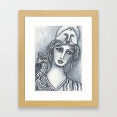 Goddess of Wisdom Framed Art Print... Visit my society6 shop and check out some new products with my artwork. Link: https://society6.com/elenisart  And this Friday you get  FREE SHIPPING on Everything with Code FRIYAY  Start: Friday, 7/20/18 @ 12:00am PT  End: Friday, 7/20/18 @ 11:59pm PT