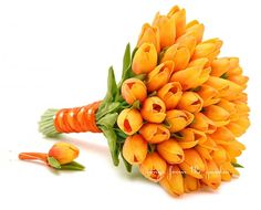 Sunset Orange Real Touch Tulips Bridal Bouquet Groom's Boutonniere Tulip Wedding Flower Package