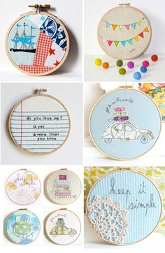 Embroidery Projects It might be fun to do a bunch of machine embroidery designs and then display them on the wall in hoops. Embroidery Hoop Crafts, Learn Embroidery, Embroidery Hoop Art, Hand Embroidery Patterns, Cross Stitch Embroidery, Machine Embroidery Designs, Embroidery Techniques, Fabric Scraps, Scrap Fabric