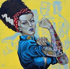 Badass tattoo edit of the Bride of Frankenstein posed as World War II icon Rosie the Riveter. New Jersey native Mike Bell is a true lowbrow artist. Mike Bell uses a heavy hand of nostalgia and humor. Bride Of Frankenstein, Rosie The Riveter, Psychobilly, Beetlejuice, Bell Tattoo, Mike Bell, Frankenstein's Monster, Character, Caricatures