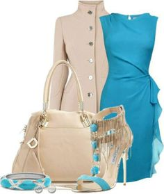 Turquoise classic cocktail dress ...