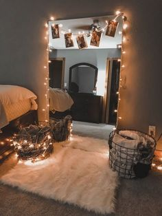 Unique Small Apartment Decorating Ideas On A Budget - Décoration Intérieure Cute Room Decor, Teen Room Decor, Room Decor Bedroom, Home Bedroom, Bedroom Inspo, Master Bedroom, Bedroom Mirrors, Room Decor With Lights, Lighting In Bedroom
