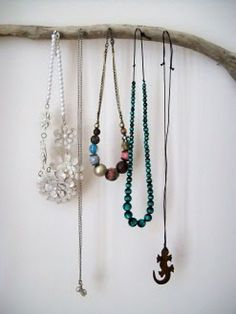 diy driftwood jewellery hook, I like the 4th necklace from the left, really pretty beads