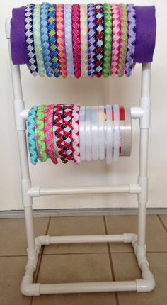 PVC pipe and oatmeal cans for displaying headbands