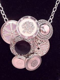 Secret Button Necklace Pendant Vintage Look Silver by ConstantlyUnfolding, $12.50