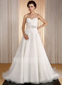 Wedding Dresses - $174.99 - A-Line/Princess Sweetheart Court Train Organza Satin Wedding Dress With Sash Beadwork (002031864) http://jjshouse.com/A-Line-Princess-Sweetheart-Court-Train-Organza-Satin-Wedding-Dress-With-Sash-Beadwork-002031864-g31864?ver=0wdkv5eh