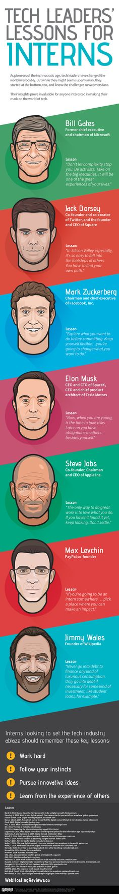 Infographic: Steve Jobs, Other Top Tech Leaders Share Their Advice For Interns - DesignTAXI.com
