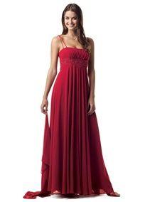"davids bridal  Flickr - Photo Sharing! F12495 Spaghetti strap long chiffon dress with beaded empire waist. Colour: ""Apple"""