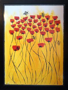 ABEJAS CON AMAPOLAS | pintura en Acrilico | 60x80 | RRiRR Ricardo Gil Turrion | Colección privada