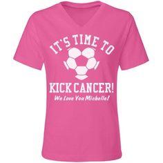 Kick Cancer Soccer Mom Misses Relaxed Fit LA T V-Neck Tee