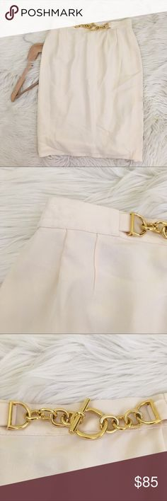 VTG Neiman Marcus Louis Feraud Wool Pencil Skirt Vintage Louis feraud for Neiman Marcus Womens size 8 Pencil Skirt • Wool Blend • Cream • Gold Chain in front • made in Germany!  • excellent condition, no flaws  Length: Waist flat:  📌NO lowball offers 📌NO modeling 📌NO trades  Come check out the rest of my closet! I have various brands and ALL different sizes ❤️ Neiman Marcus Skirts Pencil