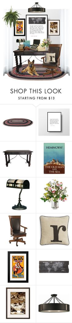 """""""The Writer's Room...by fowlerteetee"""" by fowlerteetee ❤ liked on Polyvore featuring interior, interiors, interior design, home, home decor, interior decorating, Hemingway, Dale Tiffany, Retrò and Nearly Natural"""
