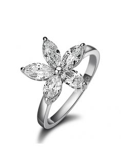 Luxurious Alloy Olive Flower Ring Inlaid With Zircons #jewelry www.BlueRainbowDesign.com
