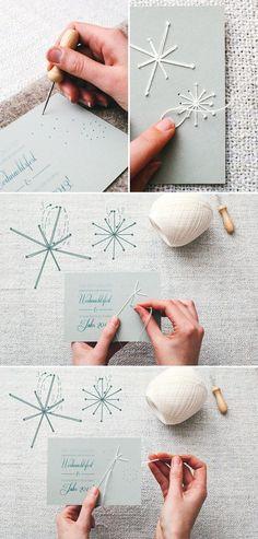 He aquí una preciosa manera de personalizar una postal, con un bordado. Con cartulina y hilo.