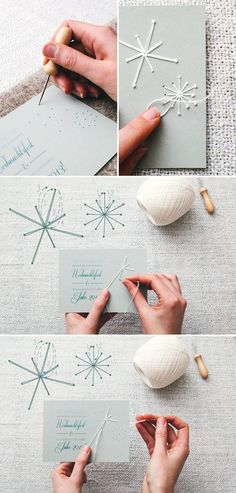 Gorgeous stitches card - snowflakes stitched with perle coton