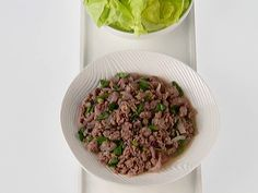 Turkey Larb recipe from Giada De Laurentiis via Food Network! Add some powdered toasted rice for additional flavor! Turkey Recipes, Chicken Recipes, Dinner Recipes, Dinner Ideas, Turkey Salad, Giada De Laurentiis, Orzo, Asian Recipes, Veggies