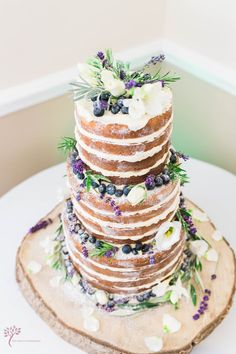 Naked wedding cake lavender and blueberries
