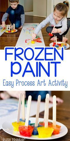 FROZEN PAINT: A fun process art activity for toddlers and preschoolers; a fun winter activity from Busy Toddler # winter activities for kids Frozen Paint: An Easy Process Art Activity Art Activities For Toddlers, Fun Winter Activities, Infant Activities, Art Projects For Toddlers, Art For Toddlers, Art For Preschoolers, Activities For 2 Year Olds Indoor, Outdoor Preschool Activities, Winter Crafts For Toddlers