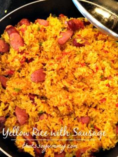 Yellow Rice with Sausage featuring Johnsonville's New Orleans Brand, Andouille Smoked Sausage! Perfect Cajun food for your Mardi Gras celebration or anytime! This yellow rice dish is packed with lots of flavor and delicious sliced Andouille sausages. Johnsonville Sausage Recipes, Andouille Sausage Recipes, Sausage Recipes For Dinner, Yellow Rice And Sausage Recipe, Yellow Rice Recipes, Sausage Rice, Cajun Recipes, Cajun Food, Pork Recipes