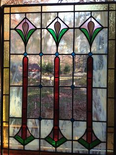 New panel, old pattern. Used HTF old cranberry glass, German clear, among others. Fun project!