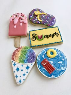 Cookies Decorated Summer Birthday Parties New Ideas Summer Cookies, Fancy Cookies, Cut Out Cookies, Cute Cookies, Cupcake Cookies, Summer Cupcakes, Sugar Cookie Royal Icing, Iced Sugar Cookies, Flip Flop Cookie