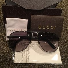 Authentic Gucci ladies aviator sunglasses Authentic Gucci aviator sunglasses!  Comes with original cleaning cloth, Gucci storage sunglass holder and paperwork as seen in the photos. Excellent condition-like new. No scratches on the lenses or signs of wear. Only worn twice. Gucci Accessories Sunglasses