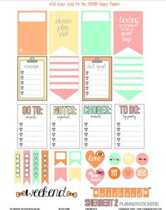Sherbert 2 Planner Stickers | Free printable for the MAMBI Happy Planner | Vintage Glam Studio