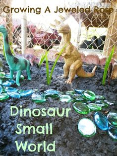 Dinosaur Small World play if you are going camping, think about taking a couple of the kids favorite plastic toys - or bug a bag at a dollar store - and together, collect items from your environment to make a small world for the toys ... add to it throughout the day or week