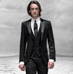 High Quality Men's Dinner Party Prom Suits Groom Tuxedos Groomsmen Wedding Blazer Suits (Jacket+Pants+Vest+Tie) NO:1306