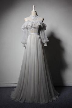 Gray Tulle Lace High Neck Long Senior Prom Dress, Gray Formal Dress With Sleeve . - - Gray Tulle Lace High Neck Long Senior Prom Dress, Gray Formal Dress With Sleeve High Neck Dress Sheath/Column High Neck Knee-Length Zipper . Grey Evening Dresses, Elegant Dresses, Pretty Dresses, Afternoon Dresses, Summer Dresses, Gray Formal Dress, Formal Dresses With Sleeves, Vintage Formal Dresses, Gray Gown
