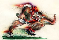 New Zealand Wine. Scrum Rugby, New Zealand Wine, Rugby Players, Caricature, Kiwi, Watercolor Tattoo, Passion, Sport, Drawings