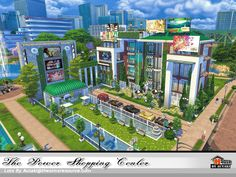 The Power Shopping Center is an modern elegant place for your simmies. Found in TSR Category 'Sims 4 Community Lots' Lotes The Sims 4, Sims Love, Sims 4 Mm Cc, Gaming Center, Sims House Plans, Sims Building, Casas The Sims 4, Sims 4 Dresses, Sims 4 Build