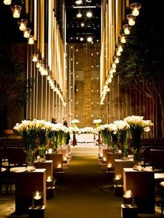 Over the top wedding aisle decor, candle lit wedding