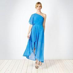 Bright blue asymmetric one shoulder maxi dress