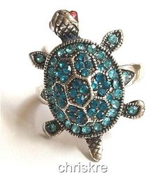 Silver Sea Life Turtle Ring Plated Blue Crystal Nautical Island Beach Size 7 9 #Unbranded #Cocktail