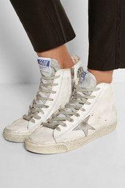 Golden Goose Deluxe BrandFrancy distressed suede-paneled leather high-top sneakers