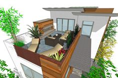 Modern Style House Plan - 3 Beds 3.5 Baths 1990 Sq/Ft Plan #484-1 Exterior - Outdoor Living - Houseplans.com