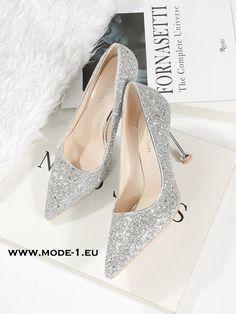 22fc482afbe903 High Heel Glitter Pumps in Silber  damenschuhe  abendschuhe  in  siler   glitter