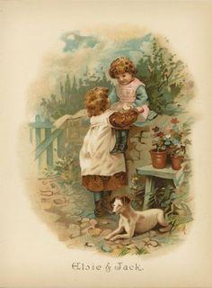ANTIQUE-VICTORIAN-CHILDREN-CHILD-FLOWERS-JACK-RUSSEL-TERRIER-DOG-CHROMO-PRINT