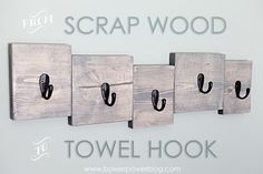 Scrap wood happens. And for us...usually that means that the boys have some splinter-covered building blocks fo fahree! Mom of the year award :) But this time, we took a bunch of our scrap wood and decided to make a towel hook for the boys bathroom sink area. It doesn't match the existing walls...